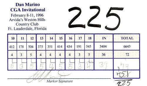 Dan Marino Autographed Scorecard Miami Dolphins - PSA/DNA Certified