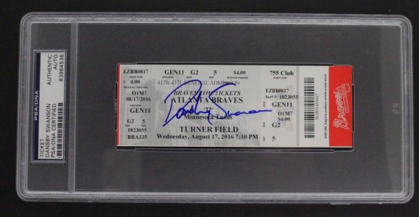 Dansby Swanson Autographed Signed Atlanta Braves First MLB Game 8/16 Ticket Signed PSA