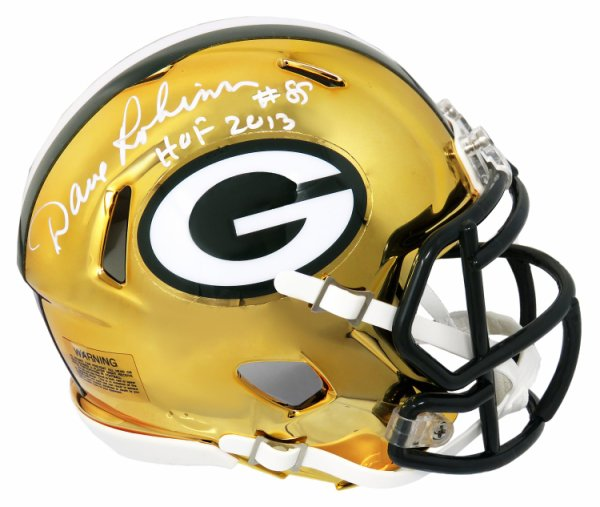Dave Robinson Autographed Signed Green Bay Packers Chrome Riddell Speed Mini Helmet w/HOF 2013