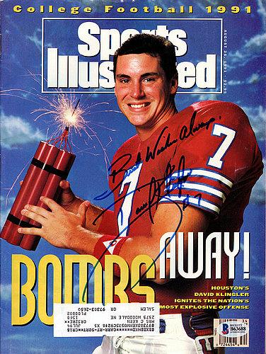 David Klingler Autographed Signed Sports Illustrated Magazine Houston Cougars - Beckett Certified
