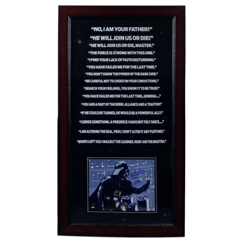 David Prowse Autographed Signed 19.5x1x36 Darth Vader Framed Photo with Darth Vader Inscription with 'Force Choke' Photo - Steiner Authentic