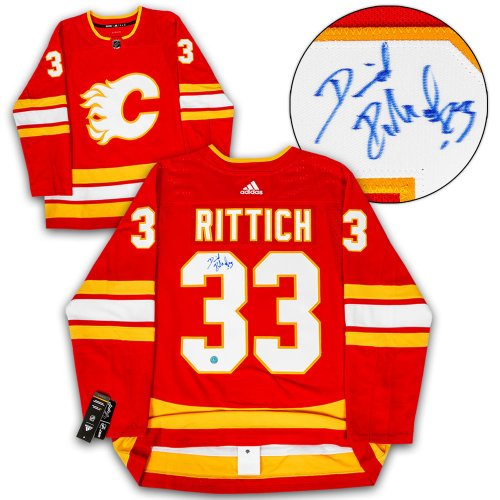 2dfacd98b58 David Rittich Calgary Flames Autographed Signed Retro Alternate Adidas  Authentic Hockey Jersey - Certified Authentic