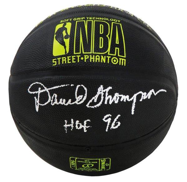 David Thompson Autographed Signed Spalding Phantom Black With Yellow Lettering NBA Basketball w/HOF'96