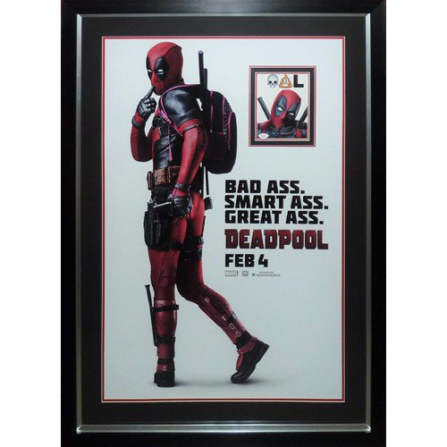 Deadpool Full-Size Movie Poster Deluxe Framed with Ryan Reynolds Autographed Signed Autograph - JSA