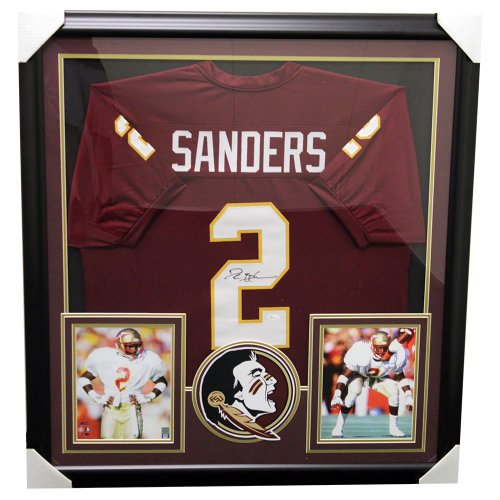 Deion Sanders Autographed Signed Florida State Seminoles Framed Garnet Custom  Jersey - JSA Certified Authentic 2550c7ee5