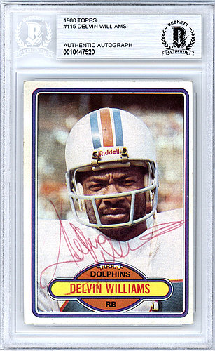 Delvin Williams Autographed Signed Auto 1980 Topps Card #115 Miami Dolphins - Beckett Certified