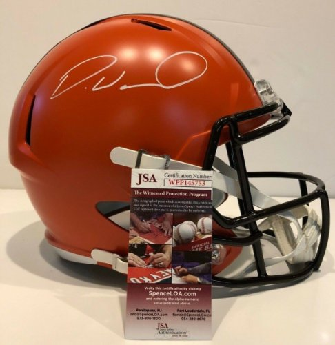 Denzel Ward Autographed Signed Signed Cleveland Browns Full Size Helmet JSA COA