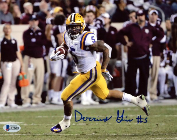 f2054ef6d Derrius Guice LSU Tigers Autographed Signed 8x10 Photo - Horizontal  Breakaway - Beckett Authentication