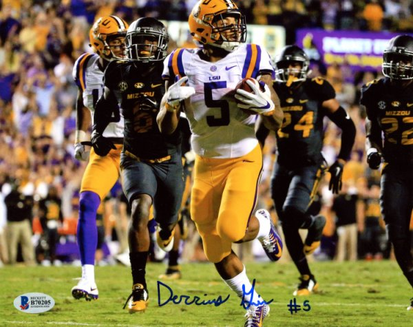 b91dc7ace Derrius Guice LSU Tigers Autographed Signed 8x10 Photo - Horizontal Running  by Tigers - Beckett Authentication
