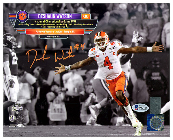 453eac27cdd Deshaun Watson Autographed Signed 8x10 Photo Clemson Tigers - Beckett  Authentic