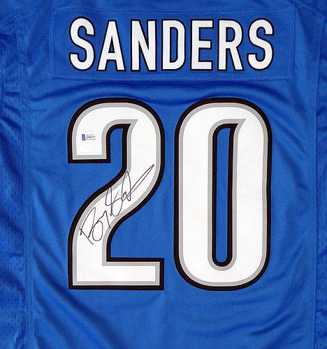 d49cbb8c155 Detroit Lions Barry Sanders Autographed Signed Blue Nike Twill Jersey Size  M - Beckett BAS Authentic