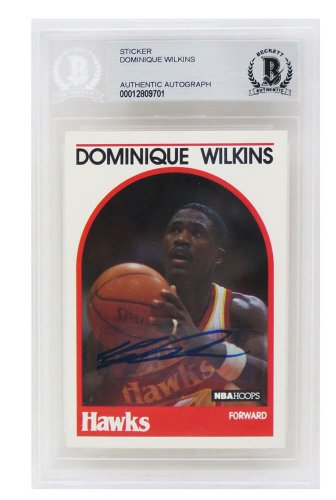 Dominique Wilkins Autographed Signed Atlanta Hawks 1989 Hoops Basketball Card #130 - (Beckett / Auto Sticker)