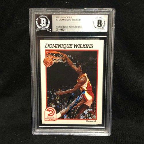 """PSA Slabbed Dominique Wilkins /""""HOF/"""" Signed Card 1986 Fleer #121 w// Gem 10 Autog"""