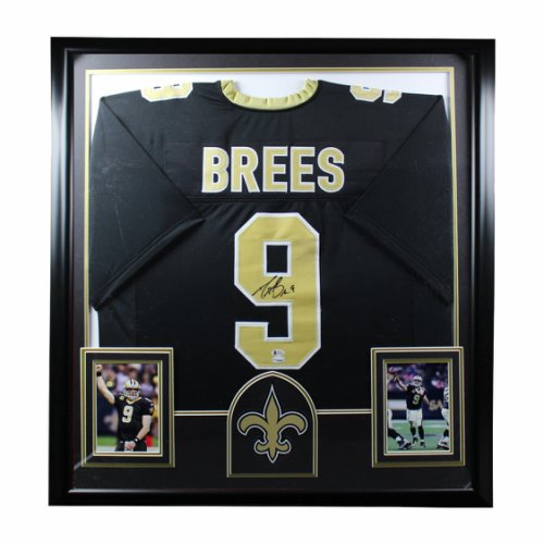 Drew Brees Autographed Signed New Orleans Saints Black and Gold Framed Premium Deluxe Jersey - BAS Authentic