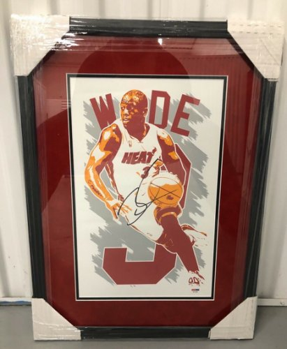 Dwyane Wade Autographed Signed Autographed Custom Framed 11X17 Drawing Miami Heat PSA/DNA