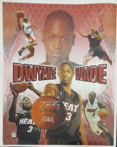 Dwyane Wade Autographed Signed 'Flash' Authentic Autographed Giclee Canvas PSA/DNA