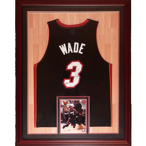 Dwyane Wade Autographed Signed Miami Heat (Black #3) Deluxe Framed Jersey with court background - DWADE Holo