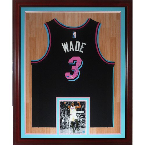 Dwyane Wade Autographed Signed Miami Heat (Black Vice #3) Deluxe Framed Jersey - JSA