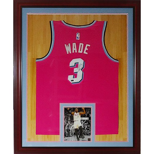 Dwyane Wade Autographed Signed Miami Heat (Pink Vice #3) Deluxe Framed Jersey - JSA
