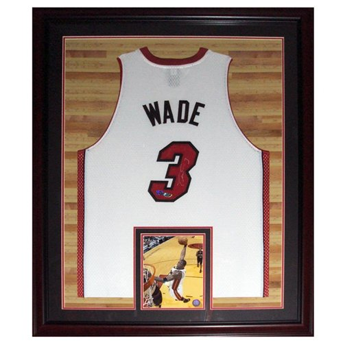 Dwyane Wade Autographed Signed Miami Heat (White #3) Deluxe Framed Jersey - Court Background - Wade Holo