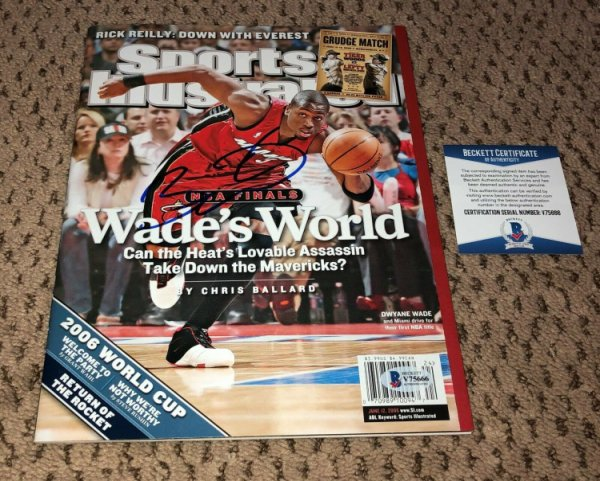 Dwyane Wade Autographed Signed Sports Illustrated Autograph Beckett Beckett No Label Si Heat
