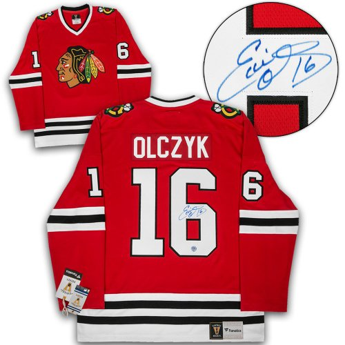 55d22e5c Ed Olczyk Chicago Blackhawks Autographed Signed Retro Fanatics Hockey Jersey
