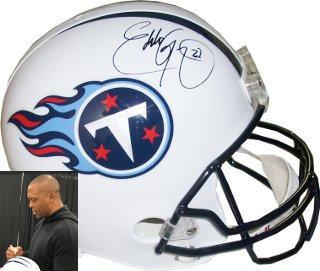 JSA ITP Holo Eddie George signed Tennessee Titans White Logo Football #27
