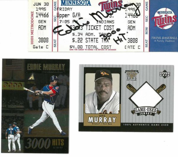 Eddie Murray Autographed Signed Cleveland Indians Autographed 3000Th Hit Ticket JSA