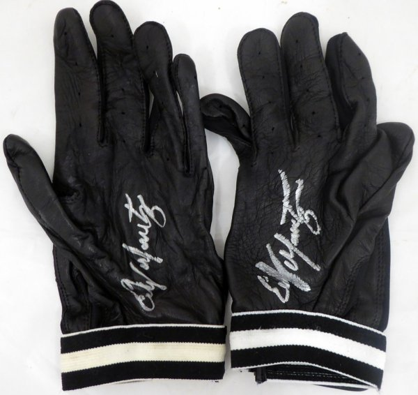 Edgar Martinez Autographed Signed Pair of Game Used Franklin Batting Gloves with Signed Certificate - Certified Authentic
