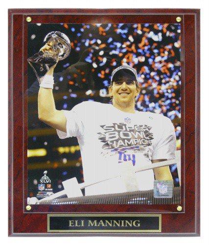 Eli Manning New York Giants (SB XLVI with Trophy) Licensed 8X10 Photo Plaque