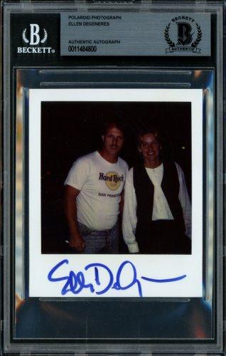 Ellen DeGeneres Autographed Signed 3.5x4 Polaroid Photo TV Host Vintage Beckett BAS 11484800