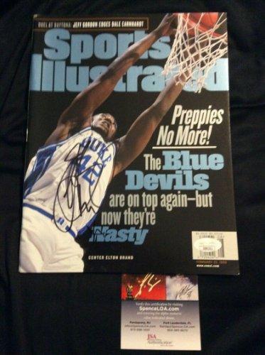 Elton Brand Autographed Signed Sports Illustrated No Label Nl Duke Basketball JSA COA