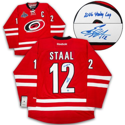 00d3ad70 Eric Staal Carolina Hurricanes Autographed Signed & Inscribed 2006 Stanley  Cup Hockey Jersey