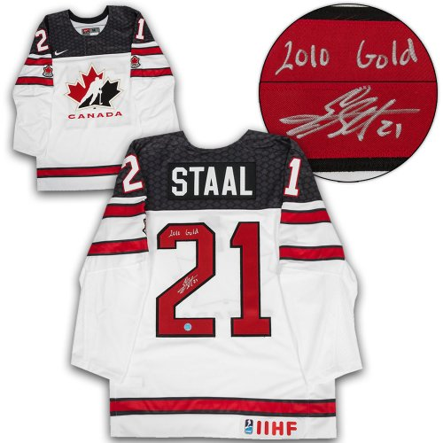 21900473c Eric Staal Team Canada Autographed Signed White Nike Olympic Hockey Jersey  - Certified Authentic
