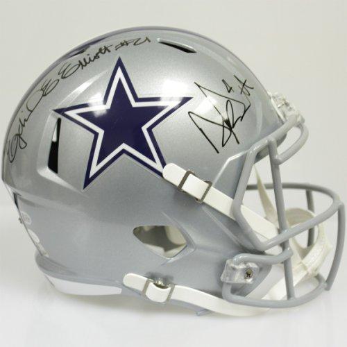 f31ca7f99e6 Ezekiel Elliott and Dak Prescott Autographed Signed Dallas Cowboys Riddell  Full Size Speed Blaze Replica Helmet - JSA & Beckett Authentic 178