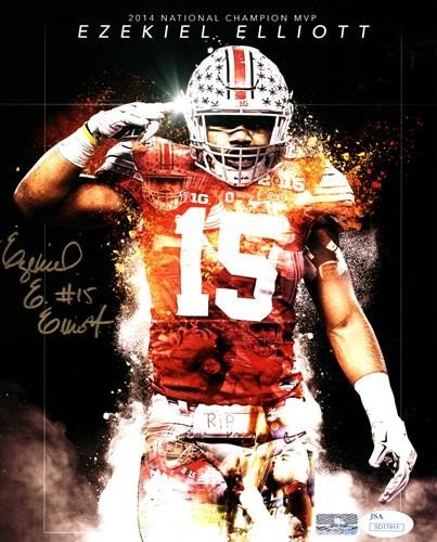 115738e9a2c Ezekiel Elliott Autographed Signed Auto Ohio State Buckeyes Vertical 8x10  Photograph � JSA - Certified Authentic