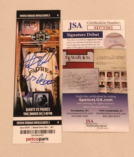 Fernando Tatis Autographed Signed Jr MLB Debut Mint Padre Season Ticket Stub 3/28/19 JSA COA