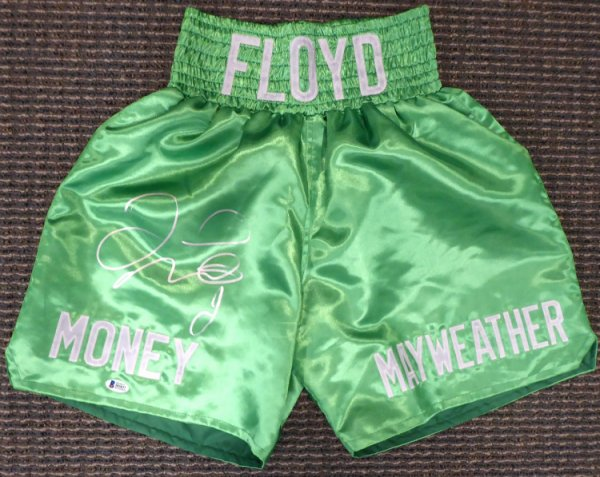 Floyd Mayweather Jr. Autographed Signed Green Boxing Trunks Beckett BAS #I83837