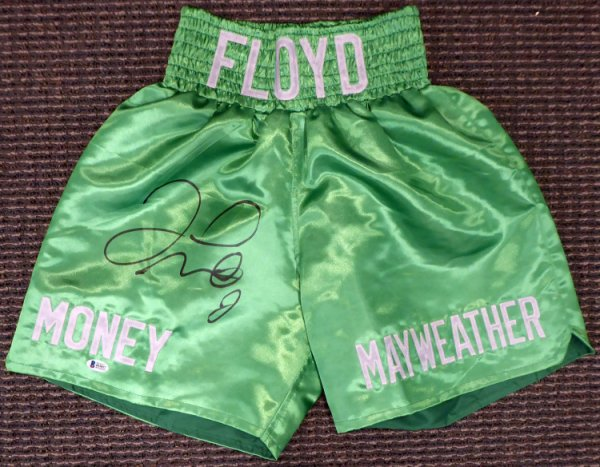Floyd Mayweather Jr. Autographed Signed Green Boxing Trunks Beckett BAS Stock #159665