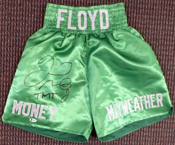 Floyd Mayweather Jr. Autographed Signed Green Boxing Trunks TMT Beckett BAS Stock #159663