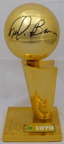 Fred Brown Autographed Signed Seattle SuperSonics 1979 NBA Finals Champions 12 Replica Larry O'Brien Trophy with Sublimated Plate MCS Holo Stock #161461