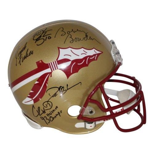 FSU Seminoles Legends (Fisher, Bowden, Brooks, Sanders) Autographed Signed Full Size Riddell Replica Gold Helmet - PSA/DNA Authentic