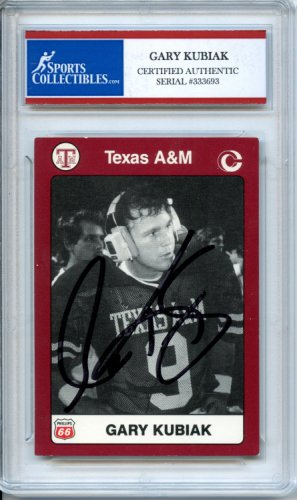 e6a9abb2cff Gary Kubiak 1990 Collectors Choice Texas A M Aggies Autographed Signed  Trading Card - Certified Authentic