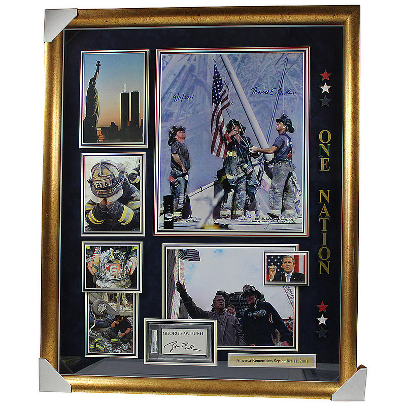 George Bush and Thomas E Franklin Autographed Signed Framed 9/11 Photo Shadowbox - PSA/DNA Authentic