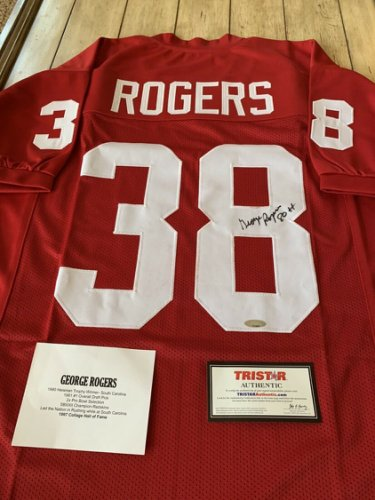 George Rogers Autographed Signed /Signed Jersey Tristar South Carolina Heisman Winner