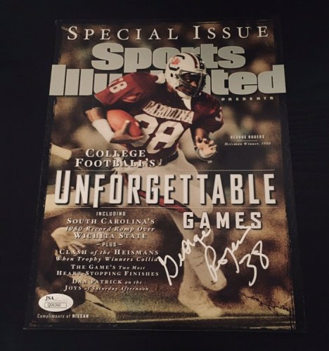 George Rogers Autographed Signed Usc Gamecocks Sports Illustrated Magazine Heisman/ JSA