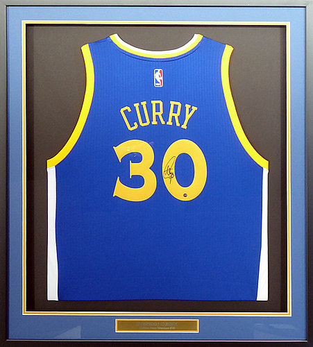 227e73a2e4fa Golden State Warriors Stephen Curry Autographed Signed Framed Blue Jersey  Steiner Holo Stock  147261