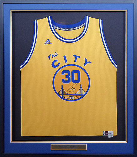 fc97d9fe4 Golden State Warriors Stephen Curry Autographed Signed Framed Yellow The  City Jersey - Beckett Authentic