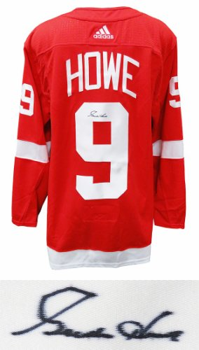 Gordie Howe Autographed Signed Detroit Red Wings Red Adidas Premier Hockey Jersey With Fight Strap