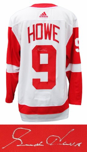 Gordie Howe Autographed Signed Detroit Red Wings White Adidas Premier Hockey Jersey With Fight Strap